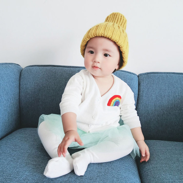 Boys girls autumn sweaters kids rainbow embroidery cardigan baby white black yellow green pink red clothes children 1-6 years