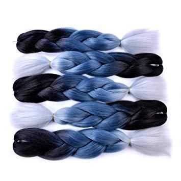 Tranças Jumbo (preto / cinza azul / cinza prata) Jumbo Braid Hair Extension 24