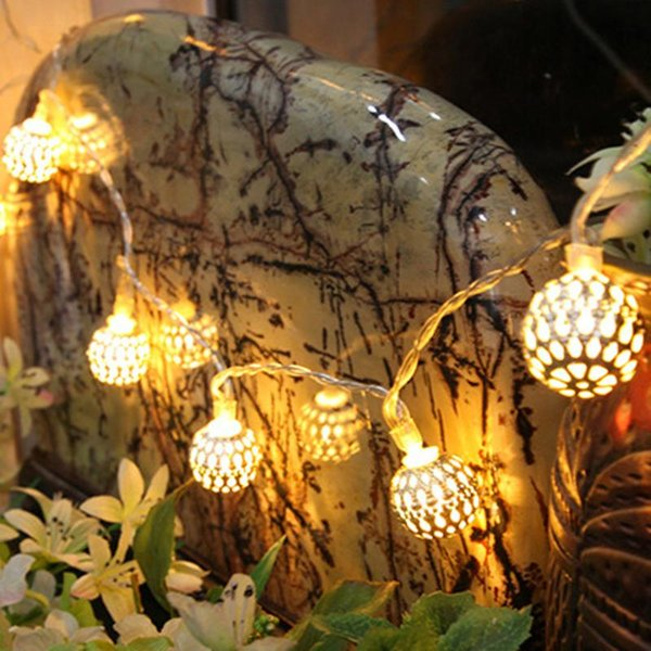 20 LED Ball Metal Fairy String Light Christmas Decoration For Home Wedding Party Supplies Garland Outdoor Bedroom Decor