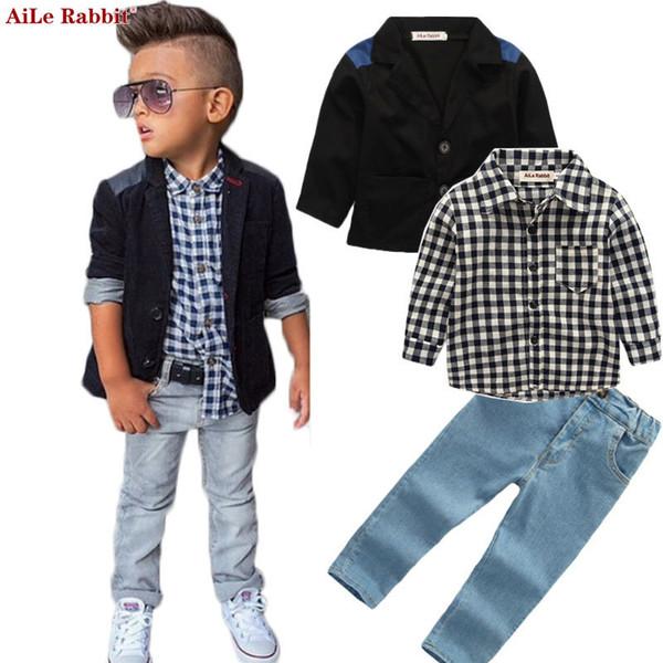 Aile Rabbit Autumn New Boys Conjuntos de ropa Chaqueta Camisas Jeans 3pcs Trajes Denim Ropa a cuadros Abrigo de manga larga K1 J190717
