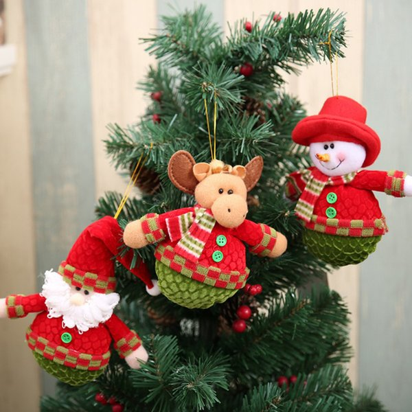 1 pieza Chic Christmas Santa Snowman Elk Plush Doll Christmas Tree Hanging Decoration