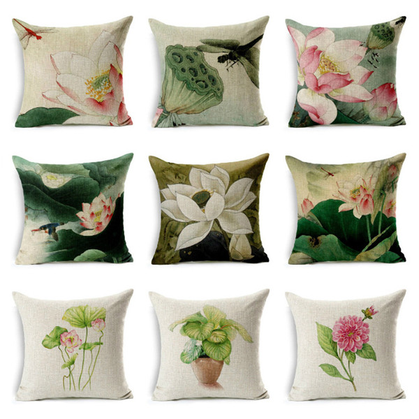 Beautiful Lotus Printing Pillow Case Cotton Linen Simple Flower Lotus Pattern Throw Decorative Pillowcases Cover Almohada
