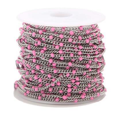 2 Metri 2mm in acciaio inox smaltato blu / rosso / verde / nero / rosa / arancio catene satelliti catena di bordatura palla per fare gioielli