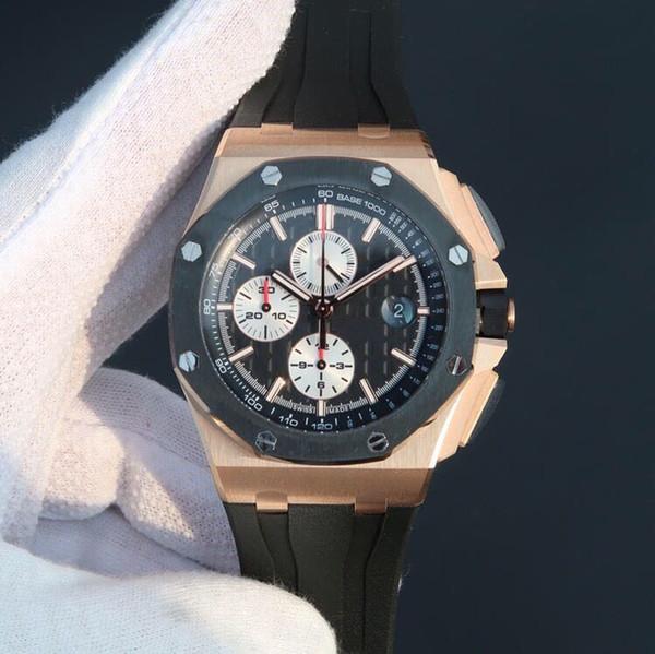 JF 26400 montre DE luxe 3126 mekanik zamanlama hareketi tam fonksiyonel zamanlama silikon kordonlu saat tasarımcı saatler saatler