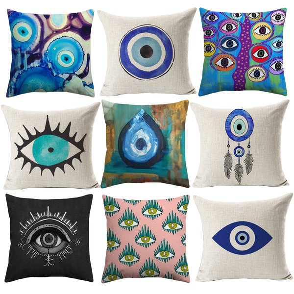 Evil Eye Cushion Cover Mediterranean And Asian Tribes Culture Cushion  Covers Sofa Throw Decorative Linen Cotton Pillow Case New Patio Furniture  ...