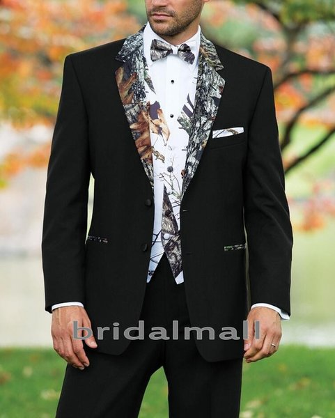 Designer 2019 Camo Hochzeit Smoking Farm Hochzeit Camouflage Anzug Benutzerdefinierte Schwarz Slim Fit Herren Blazer Formal Bräutigam Tragen