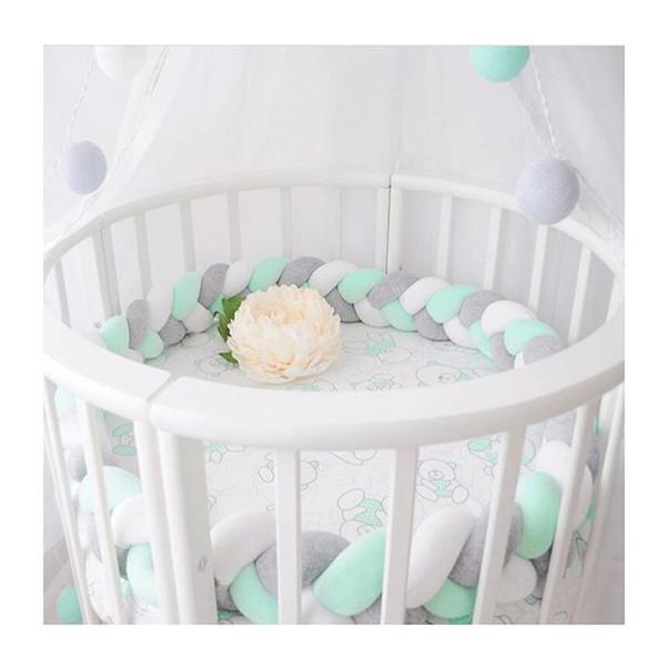 Bed Bumper Knot Design Newborn Baby Cuna Protector Cuna Bumpers Accesorios de ropa de cama Infantil Decoración de la habitación 100 cm-300 cm Q190530