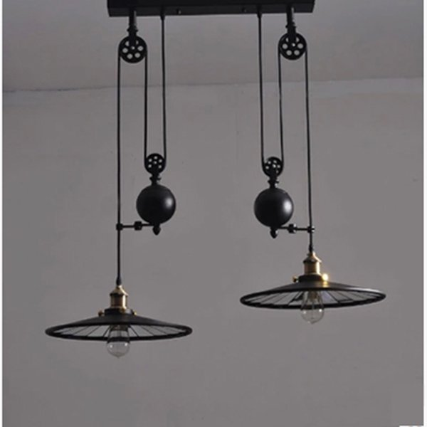 Vintage Pendant Lights New Fixtures Pulley Retro Lamp Black Metal Industrial 2 Heads Home Lighting Bedroom Dining Room Bar Home