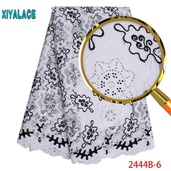 Latest African Lace Fabric High Quality French Tulle Lace Fabric With Stones Embroidery Lae Trim for Nigerian Party PGC2444B-2