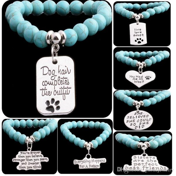New arrival charm bracelet Bohemian wind Dog tag pendant bracelets engraved letter turquoise beaded bracelets free shipping