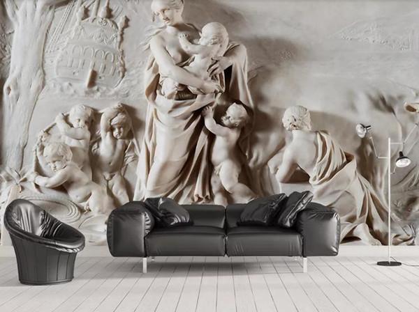 Пользовательские Mural Обои Для Стен 3D StereoscopicThree-размер рельефа Богородицы MaBedroom ТВ Фон Главная Украшения Стены Живопись