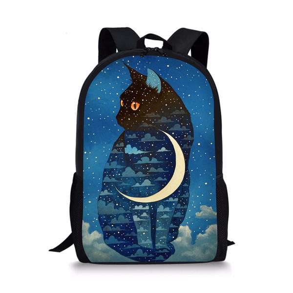 ELVISWORDS полумесяц Лунный кот Милый рюкзак маленький рюкзак мода животных дети дизайн начальных классов