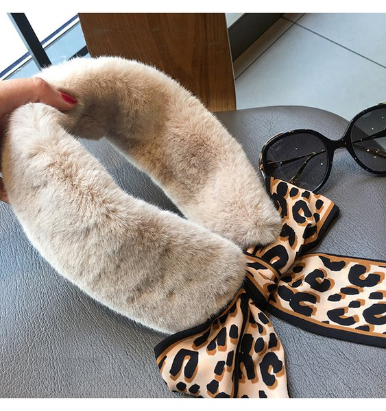 2019 new women scarves hair leopard ribbon plush ribbon autumn and winter warm printed scarves