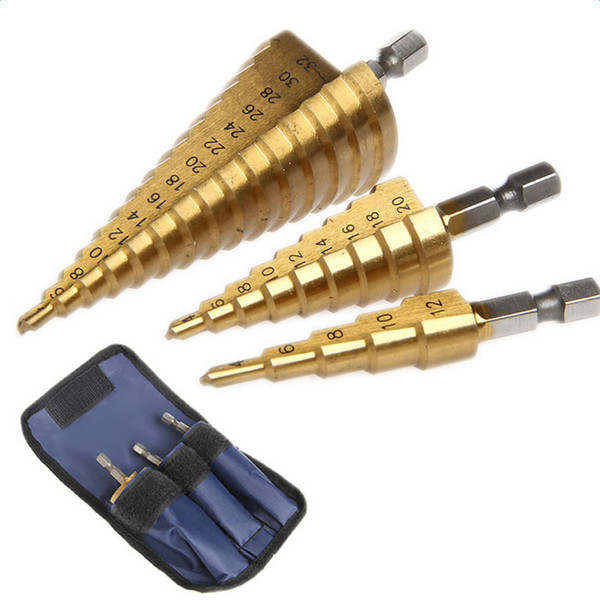 3Pc Hss Step Cone Taper Drill Bit Set Hole Cutter Metric 4-12/20/32Mm 1/4 Inch Titanium Coated Metal Hex Bits