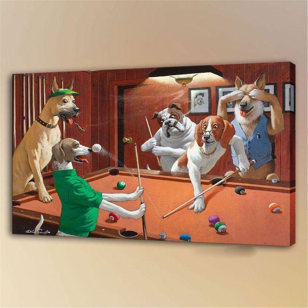 Собаки Играют Пу -1,1 шт. отпечатки на холсте настенная живопись маслом Home Decor (без рамы / в рамке) 24X36.