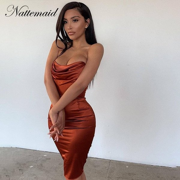 NATTEMAID Straplez Bodycon Mini Seksi Elbise Kadın Fermuar Kapalı Omuz Yaz Elbiseler Zarif Kadın Parti Kulübü Elbise Vestidos