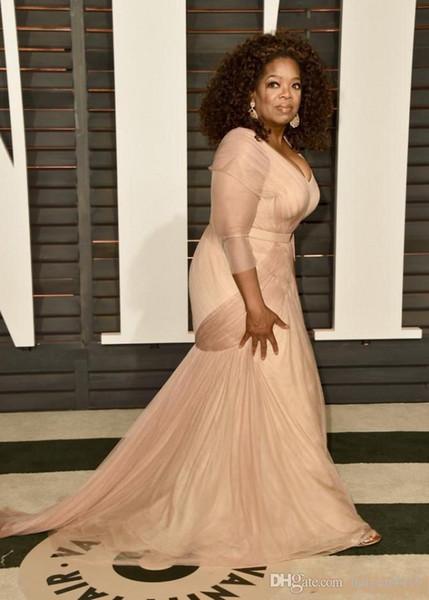2019 Nuovo economici Oprah Winfrey Oscar Celebrity Dresses plus size guaina con scollo a V con tulle a maniche lunghe Sweep Train Drappeggiato Abiti da sera 312