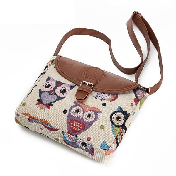 good quality Casual Cartoon Owl Printed Messenger Bag Women Canvas Design Owl Shoulder Crossbody Bag Female Small Lady Flap Bag