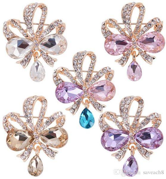 Fashion Women Brooches Lady Rhinestones Crystal Flower Wedding Brooch Pin Jewelry Accessorise