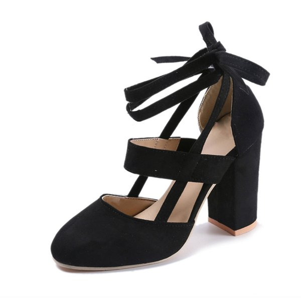 Shoes Bzbfsky Plus Size Female Ankle Strap High Heels Flock Gladiator Thick Heel Fashion Women Party Wedding Pumps Drop Shipping