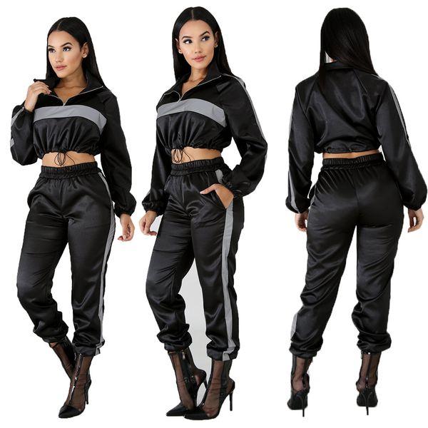 2019 Survêtement Réfléchissant 2 Deux Pièces Ensemble Vêtements Pour Femmes Noir Crop Top + Pantalon Survêtement Costume Sexy Club Tenues Assorties