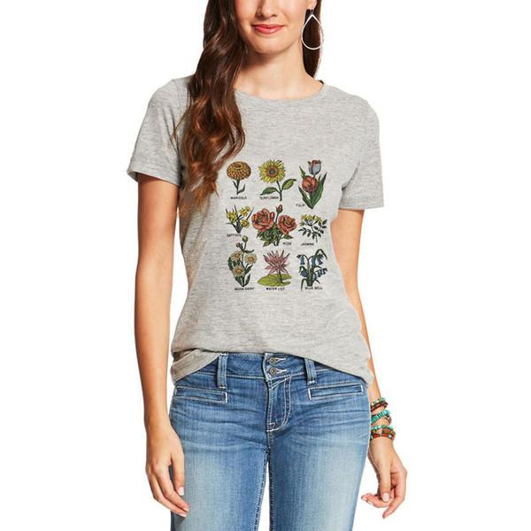 Femmes Vegan Sunlight Plant Imprimé T-shirt Vogue Mode Streetwear T-shirt Vêtements Été Top Harajuku Mince Section T-shirt