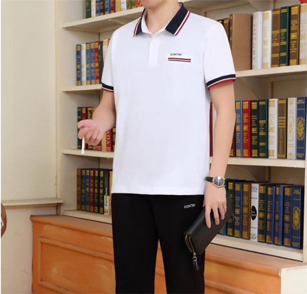 Yaz Artı Boyutu Babalar Eşofman Yaka Boyun Şort Kollu Rahat Sprots 2 Adet Takım Elbise Moda Yaşlı erkekler Koşu Takım Elbise