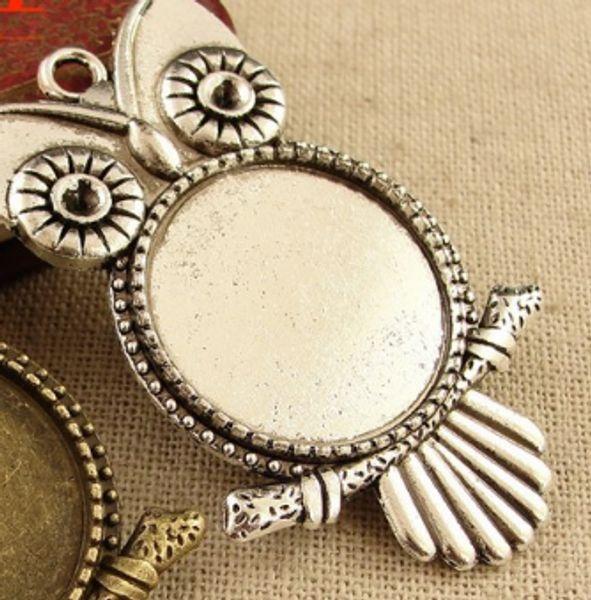 30pcs Fashion Vintage owl base time gem charms pendant 20MM silver gold bag Handmade earring bracelet necklace anklet