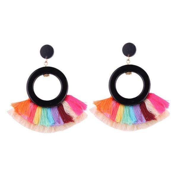 Female Bohemian Fan Shape Alloy Tassel Earring Tassel Dangle Stud Fringe Ethnic Earrings Jewelry for Women Girls Gift