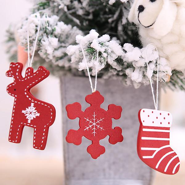 Calzini in legno di cervo con ciondolo Decorazione di buon Natale per ornamenti per la casa Accessori per alberi di Natale
