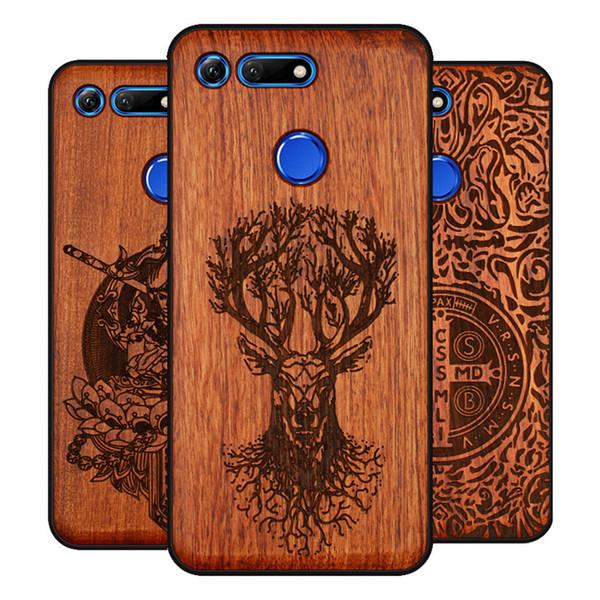 Оптовая Оригинальный Деревянный Телефон Чехол Для Huawei Honor View 20 V20 V10 Дерево + ТПУ Чехол Для Honor 8x Play 10 Ультратонкий Деревянный Коке