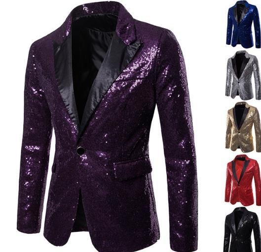 Mens Shining Sequin Blazer Suit Jacket for Host One Button Blazer Coat Cocktail Party Banquet Prom S-XXL gold blue red black silver purple