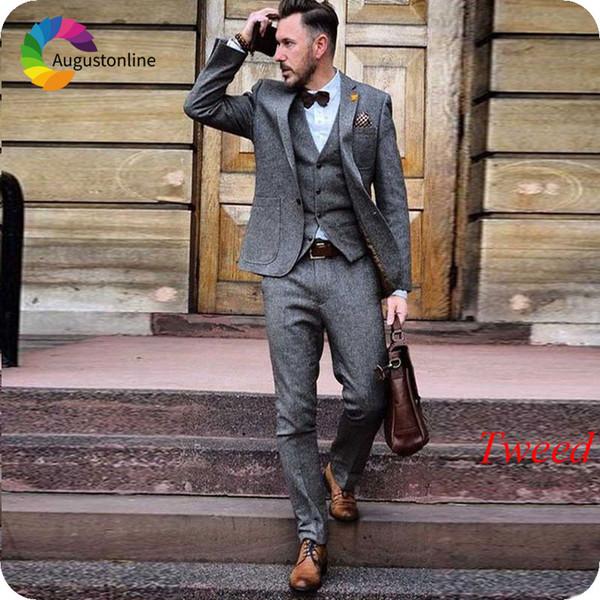 Grey Tweed Wool Men Suits Winter Slim Fit Wedding Tuxedos Groom Wear Formal Business Terno 3 Pieces (Jacket+Pants+Vest) Costume Homme