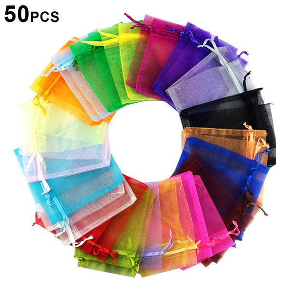 Hot 50pcs Candy Pouches Bags Transparent Mesh Organza Gift Drawstring Bags for Wedding Gift MDD88
