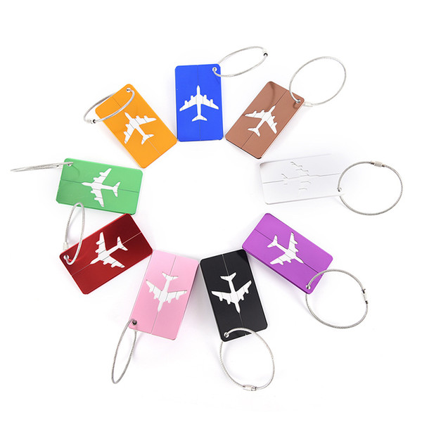 Aircraft Luggage ID Tags Boarding Travel Address ID Card Case Bag Labels Card Dog Tag Collection Keychain Key Rings Toys Gifts 1216