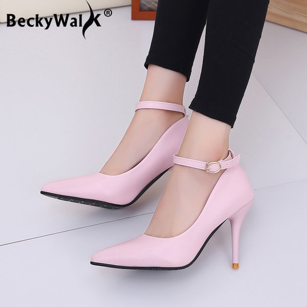 Dress Shoes Female High Heels Women Pumps Ankle Strap Office Lady Pointed Toe Pu Leather Sexy Woman Sapato Feminino Wsh3170