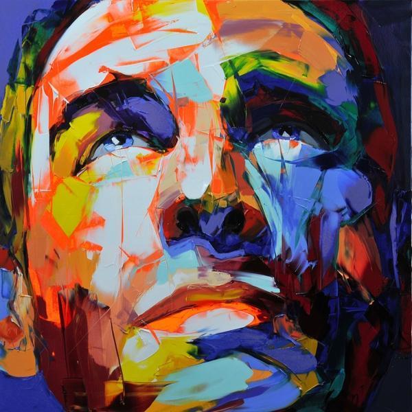 Francoise Nielly cuchillo de gama de impresión Inicio Obras Retrato moderno a mano de pintura al óleo sobre lienzo cóncavas y convexas textura Face051