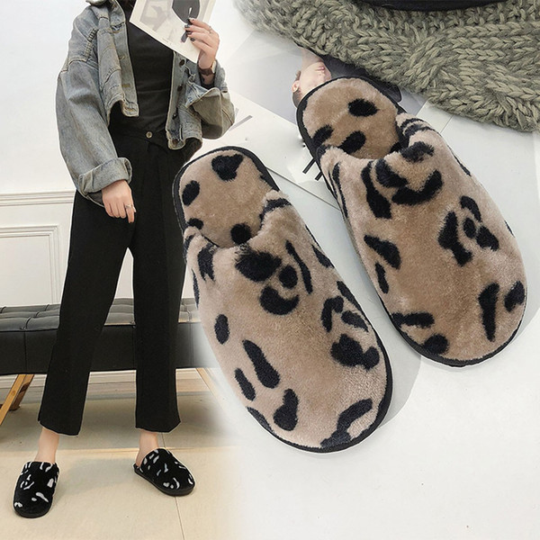 women fluffy slippers winter keep warm indoor slippers soft cotton shoes cow house flat shoes women fashion leopard cotton