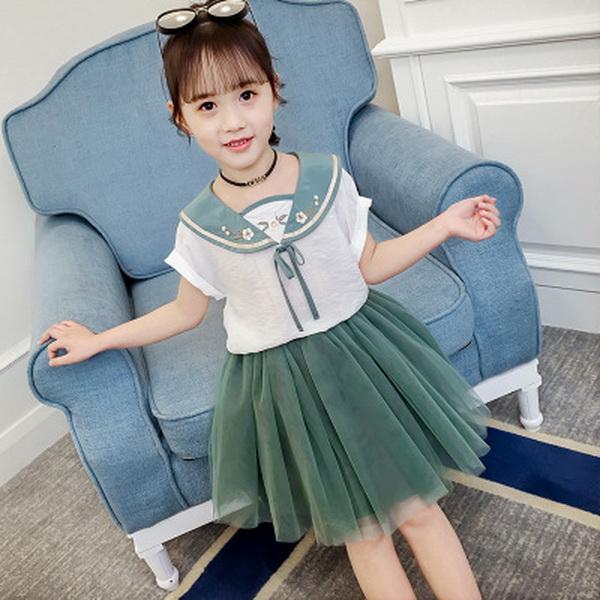Crianças New Dress Nova Crianças Terno de Verão 2019 Novas Meninas Coreanas de Manga Curta Saia Terno Saia de Dois Comprimentos de Duas Peças terno