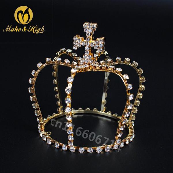 Women Mini Cross Crown Wedding Bridal Crowns Royal Queen Crystal Rhinestones Tiara party Hair Accessories Diadem Gold/Silver