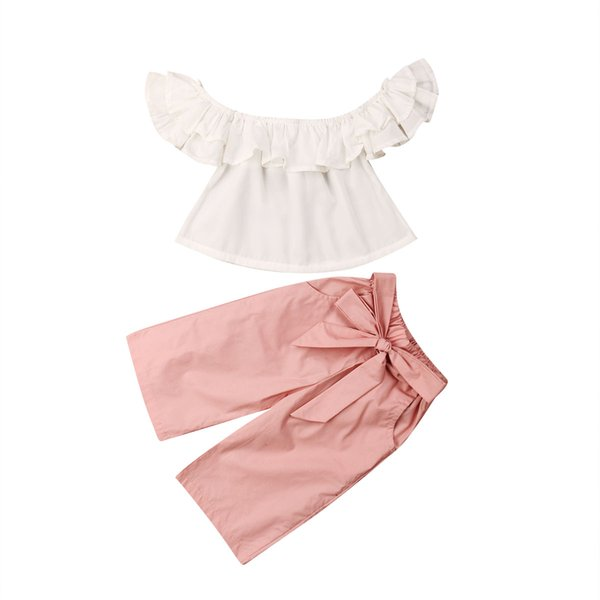 Fashion Baby Girl Hot Sale Outfit Off Shoulder Solid Ruffles Shirt Kid Crop Top+Long Waistband Pants 2Pcs Toddler Clothes Summer