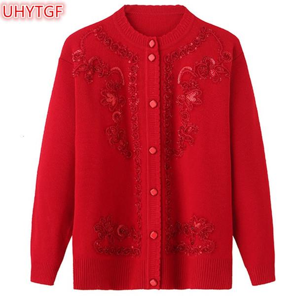 UHYTGF весна осень куртки трикотажные свитера женщин рубашки Пальто Мода Кардиган Плюс размер Туники Сыпучие вышивка свитер 46 V191105