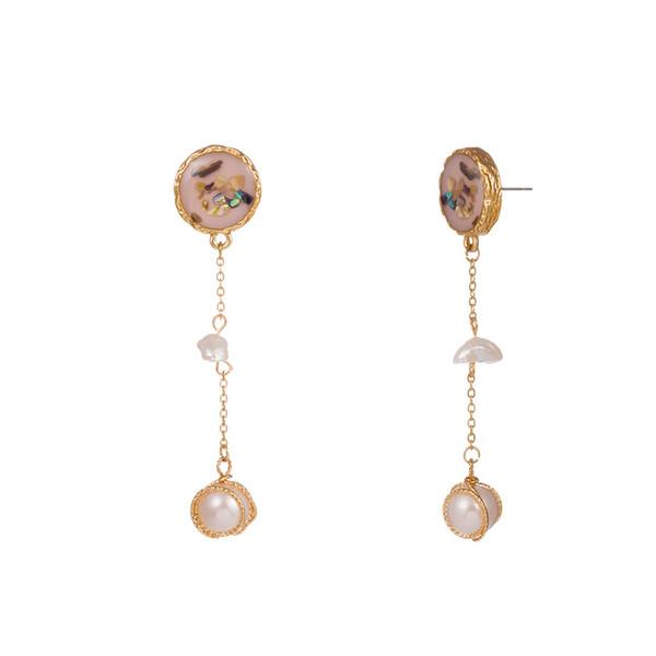 Boucles d'oreilles coquille colorée naturelle perle d'eau douce turquoise pierre oreille crochet crochet en alliage d'or baroque long gland goutte à goutte huile perle tranche boucles d'oreilles femmes