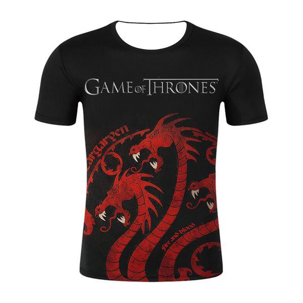 Song of Ice and Fire Juego 3D Camisetas Tronos Diseñador Hombres Mujeres Adolescentes Ropa Camisetas Manga corta Tops