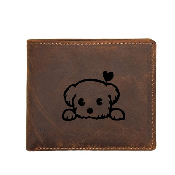 Baby Pet Cute Dog Cartoon Purses 100% Genuine Leather Wallet Men RFID Protection Card Holders Small Wallets with Coin pocket