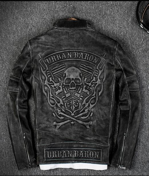 top popular vintage black 3D Flame skull pattern back men Racing leather jackets 100% genuine leather motorcycle jackets 2019