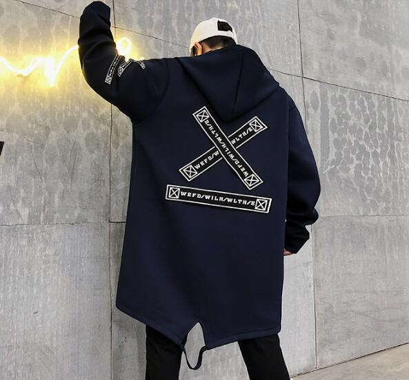 Long Jacket Men Print Fashion 2019 Spring Harajuku Windbreaker Overcoat Male Casual Outwear Hip Hop Streetwear Coats
