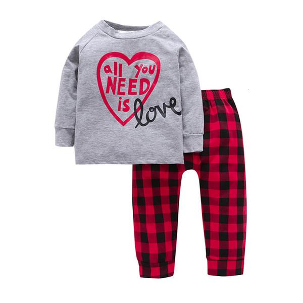 BibiCola Mädchen Kleidung Sets 2019 Frühjahr neue Kinder Mädchen Kleidung Mode Brief Langarm Top + Plaid Hosen 2pcs Outfits SH190912