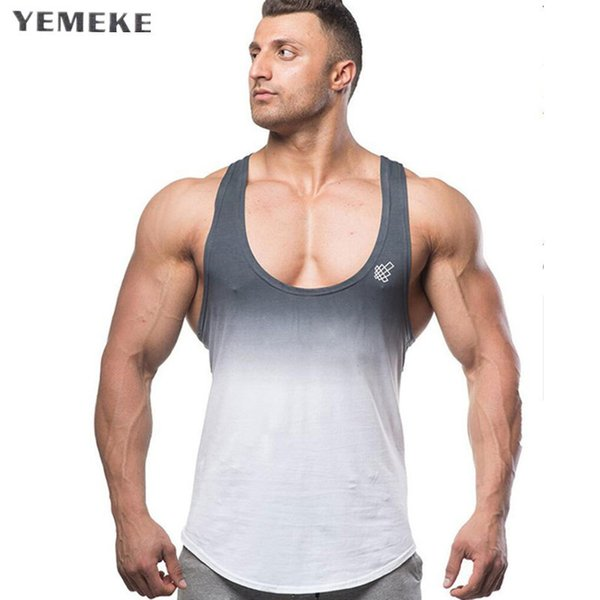 Yemeke Tops Bodybuilding Clothing Fitness Men Cotton Golds Gyms Stringer Sleeveless Shirts Muscle Tank Top Singlets Q190521
