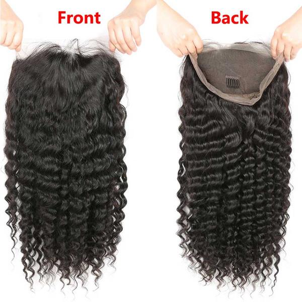 RXY Pelucas de cabello humano rizado suave de Mongolia Onda profunda 360 Pelucas de cabello humano de encaje completo con pelo de bebé Pelucas de encaje rizado profundo 360